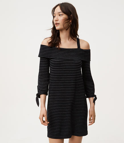 Petite Striped Knit Cold Shoulder Dress