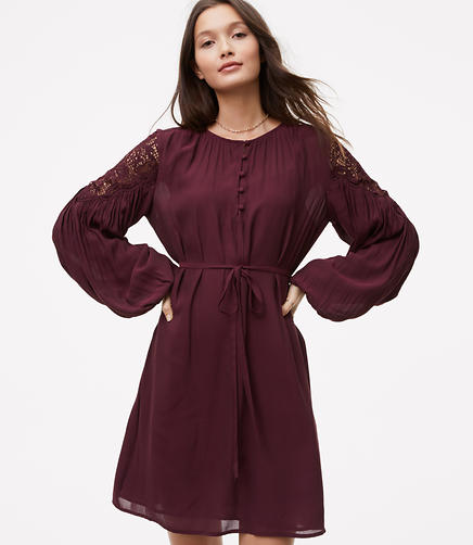 Petite Lace Shoulder Shirtdress