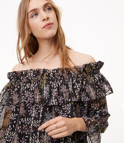 Shimmer Leaf Off The Shoulder Top