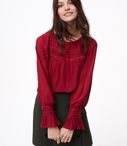 Velvet Trim Shirred Blouse