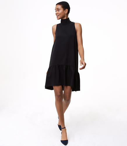 Petite Button Neck Flounce Dress