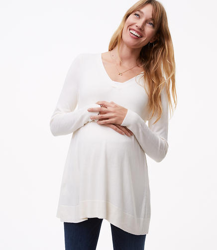 Maternity V-Neck Swing Sweater