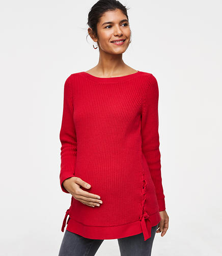 Maternity Lace Up Boatneck Sweater