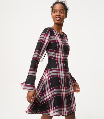 Petite Plaid Tie Back Dress