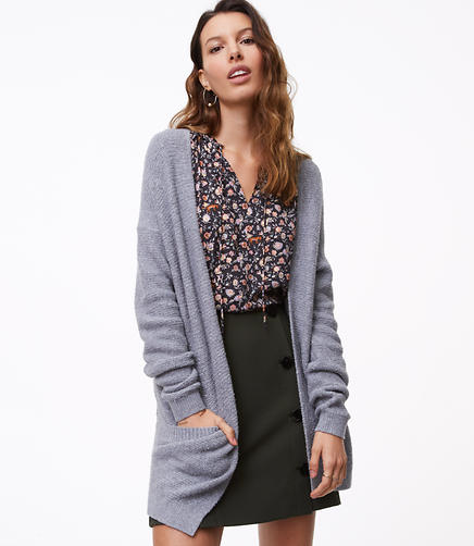 Petite Textured Pocket Open Cardigan