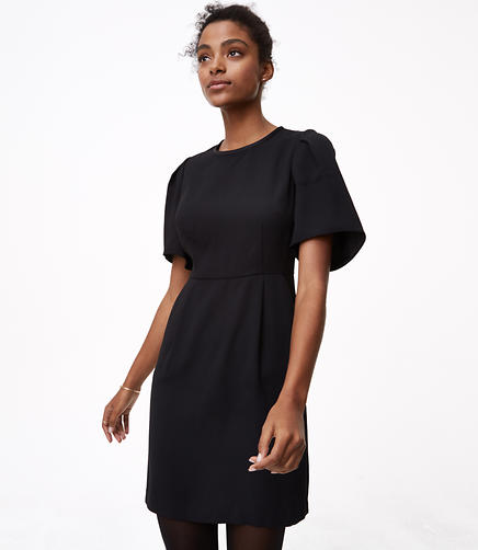Petite Puff Sleeve Sheath Dress