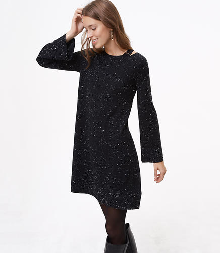 Flecked Cutout Sweater Dress