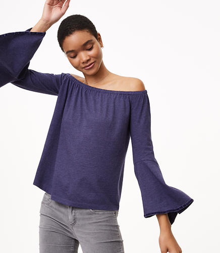 Petite Velvet Trim Off The Shoulder Bell Sleeve Top