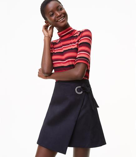 Faux Suede Grommet Wrap Skirt