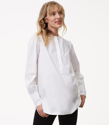 Maternity Blouson Henley Tunic Shirt