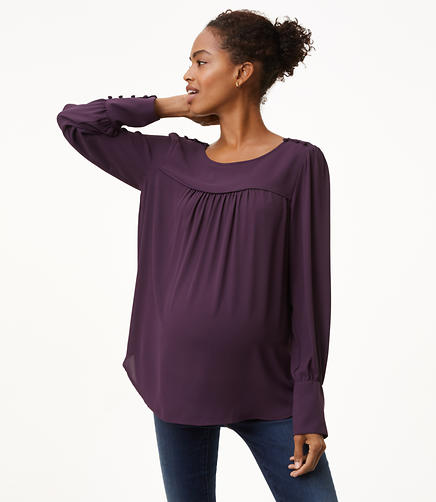 Maternity Covered Shoulder Button Blouse