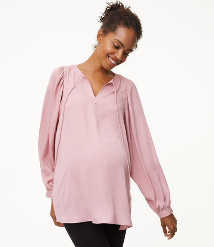 Maternity Shirred Tie Neck Blouse
