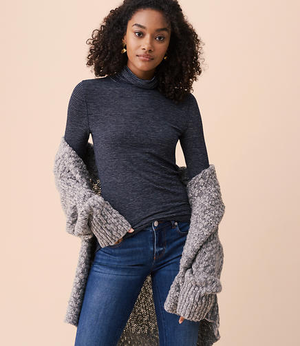 Lou & Grey Striped Warming Knit Turtleneck