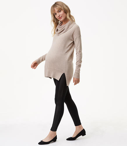 Petite Maternity Leggings in Faux Leather Paneled Ponte