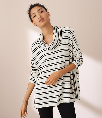 Image of Lou & Grey Striped Hi-Side Signaturesoft Cowl Tunic