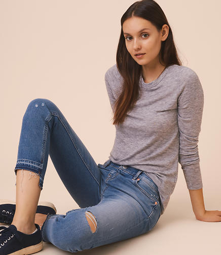 Image of Lou & Grey Destructed Step Hem Skinny Jeans