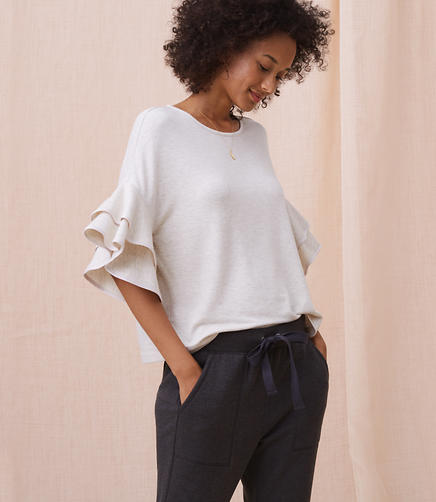 Lou & Grey Signaturesoft Tipped Ruffle Top