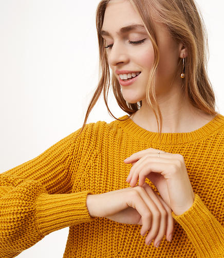 Petite Mixed Rib Blouson Sleeve Sweater