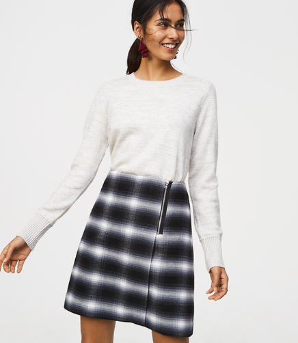 Plaid Zip Wrap Skirt