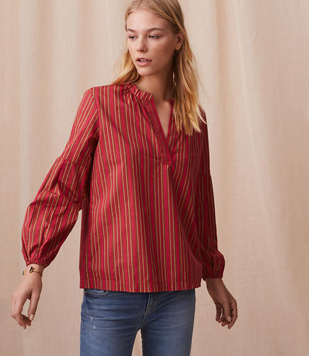Lou & Grey Striped Poplin Split Neck Top
