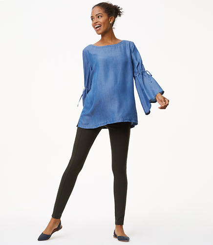 Maternity Leggings in Heathered Seamed Ponte