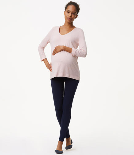 Maternity Leggings in Seamed Ponte