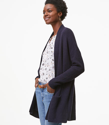 Rib Trim Pocket Open Cardigan