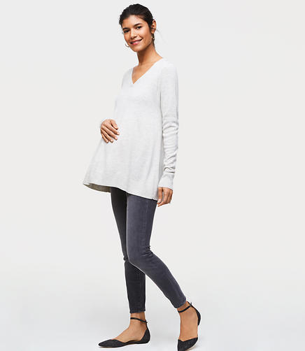Maternity Performance Denim Leggings in Grey