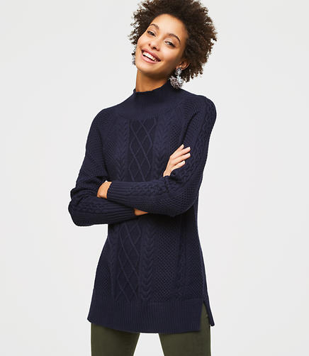 Petite Cable Tunic Sweater