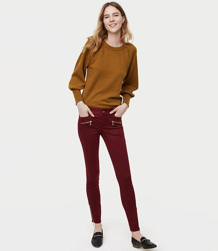 Tall Skinny Sateen Zip Pants