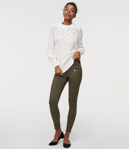 Petite Skinny Sateen Zip Pants