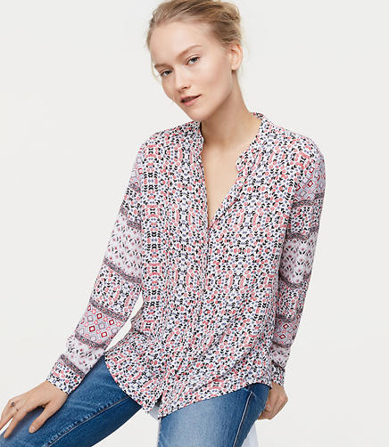 Patchwork Collarless Utility Blouse