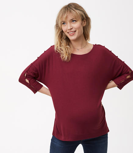 Maternity Buttoned Dolman Tee