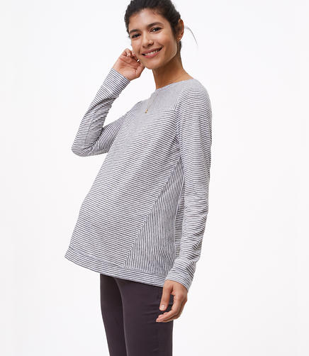 Maternity Shimmer Stripe Seamed Long Sleeve Tee