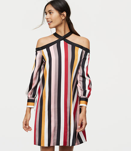 Petite Striped Off The Shoulder Halter Dress