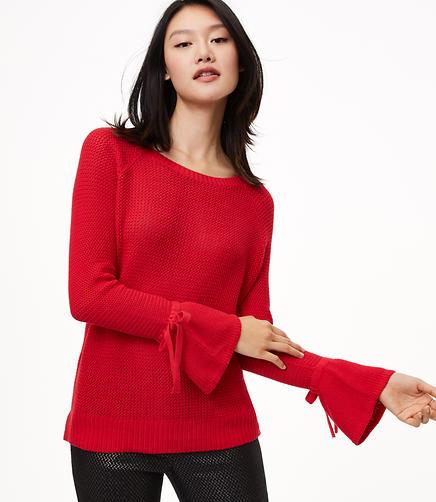Petite Tie Cuff Sweater