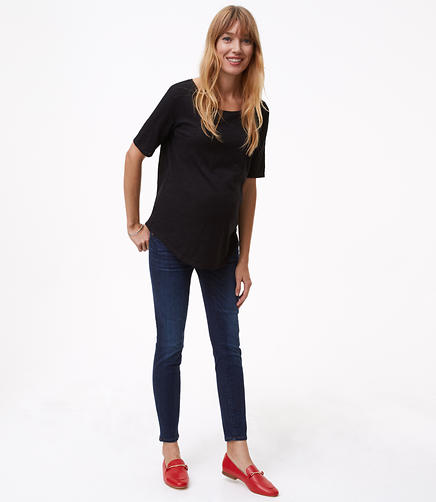 Petite Maternity Fresh Cut Skinny Jeans in Dark Indigo