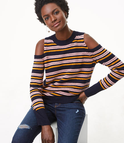 Petite Striped Chenille Cold Shoulder Sweater