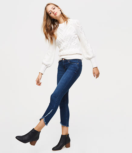 Modern Tulip Hem Skinny Jeans in Classic Dark Indigo Wash