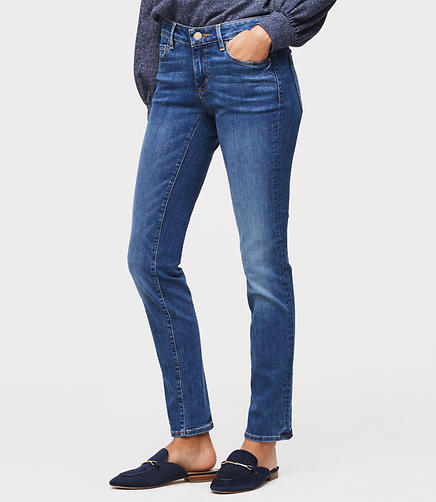 Curvy Straight Leg Jeans in Classic Mid Indigo Wash