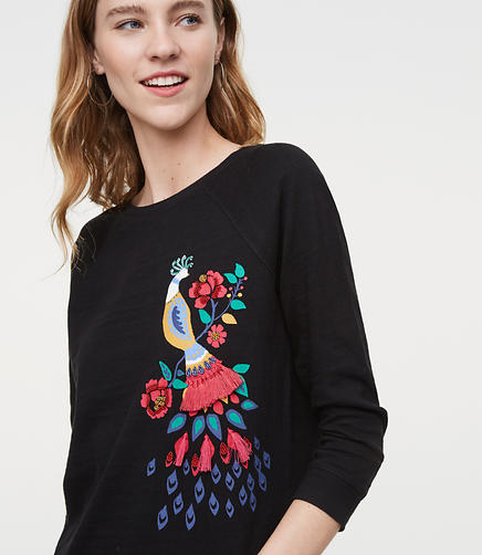 Peacock Embroidered Top