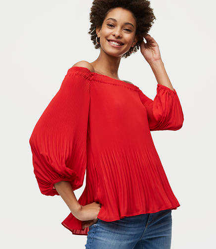 Petite Pleated Off The Shoulder Top