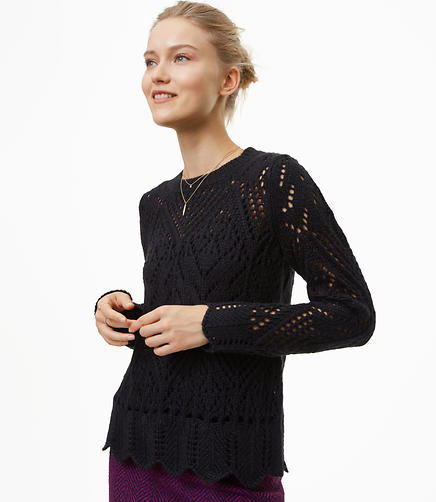 Petite Scalloped Pointelle Sweater