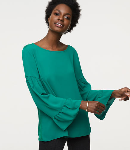 Petite Bell Sleeve Mixed Media Top