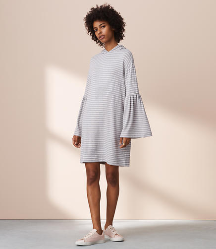 Lou & Grey Striped Signaturesoft Bell Sleeve Hoodie Dress
