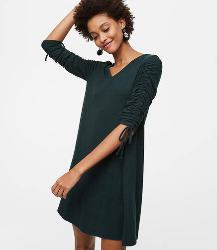Petite Cinched Sleeve Swing Dress