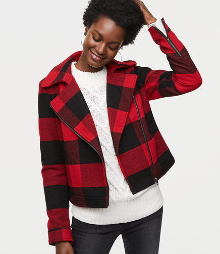 Tall Buffalo Plaid Motorcycle Jacket