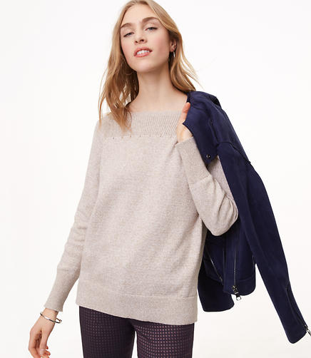 Petite Rib Trim Boatneck Sweater