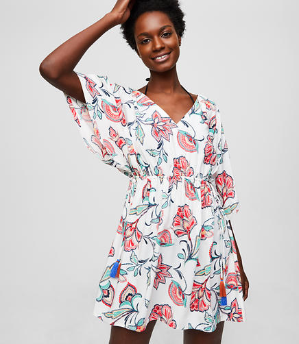 LOFT Beach Floral Caftan Dress