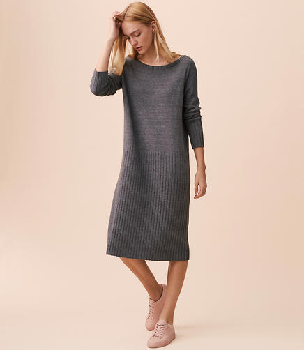Lou & Grey Specked Hi-Rib Sweater Dress